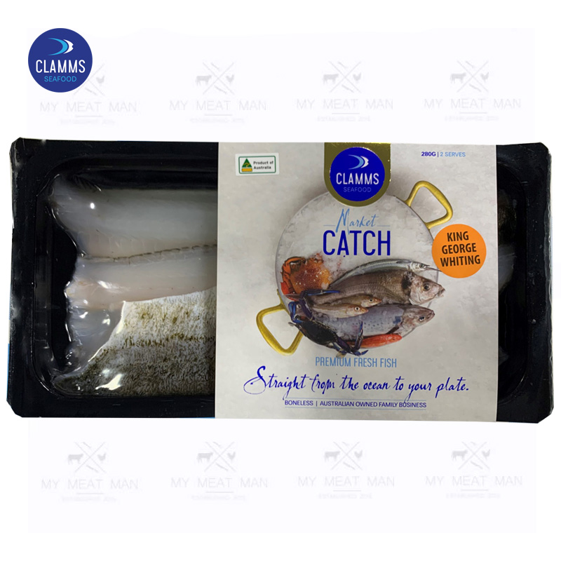 Australian Wild Caught Frozen Clamms King George Whiting Fillets Skin-on