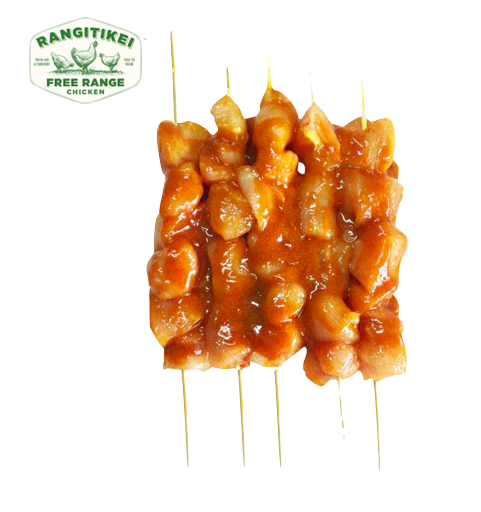 New Zealand Chilled Rangitikei Accredited Free Range Satay Chicken Breast Kebabs